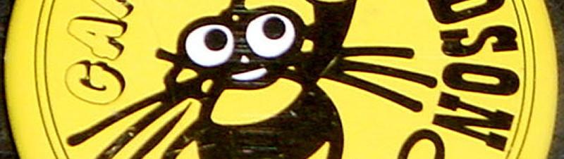ハドソンロゴ「ハチ助」缶バッジ